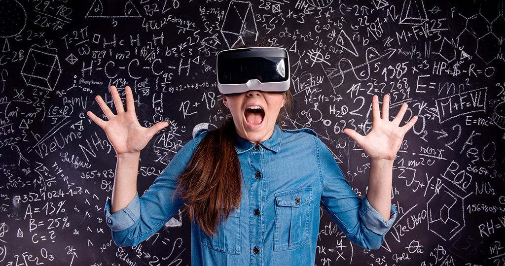 Girl having fun with virtual learning