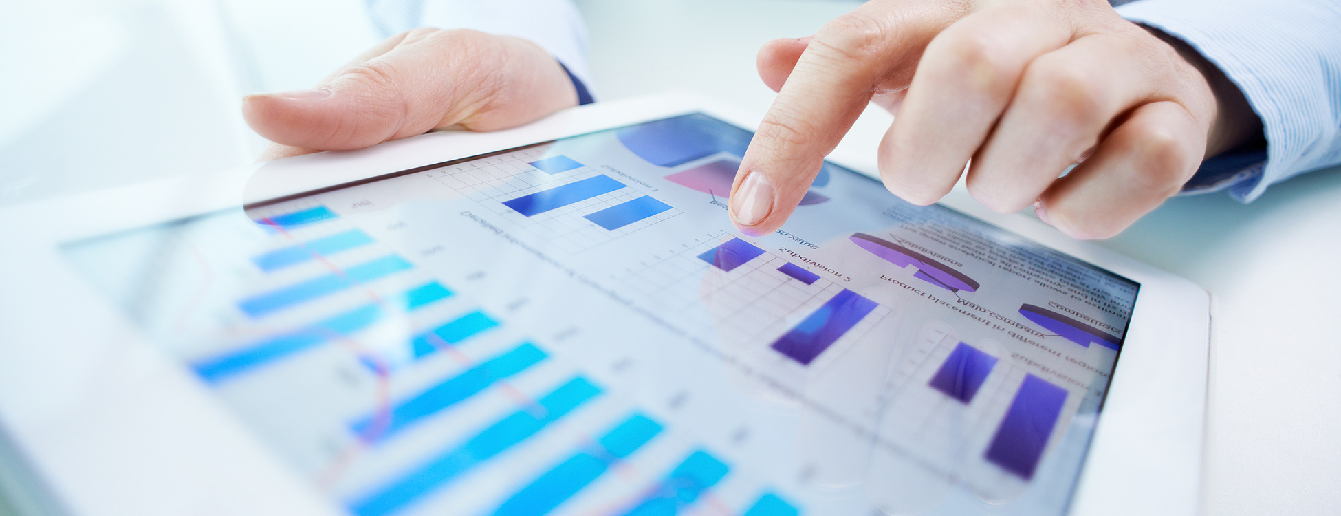 Business intelligence reports on iPad tablet